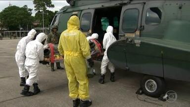 Forças Armadas fazem teinamento para os Jogos Olímpicos - As Forças Armadas fazem uma simulação de incidentes químicos, na Base Aérea dos Afonsos.