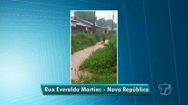 Telespectadores denunciam falta de infraestrutura em rua e terreno abandonado - Registros foram feitos na Rodovia Everaldo Martins e na Rua Haroldo Sena, bairro Caranazal.