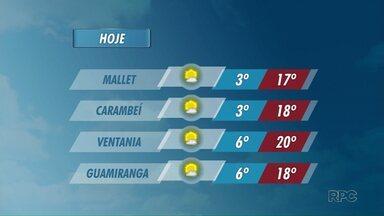 Temperaturas seguem baixas nos Campos Gerais - Em Mallet e Carambeí, as mínimas ficam na casa dos 3 graus.