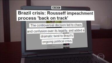 Decisões de Maranhão sobre o impeachment repercutem no exterior - Segundo Cecília Malan O tom nos jornais internacionais é de incredulidade com o Brasil. A rede britânica BBC já repercute a anulação da anulação do presidente interino da Câmara.