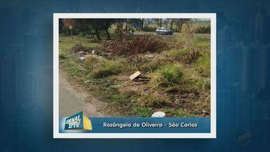Acúmulo de lixo e entulho geram reclamações em bairro de São Carlos - A Rosângela de Oliveira que mora no bairro Presidente Collor reclama do acúmulo de lixo e entulho na Rua Maria Tagliatela Custódio próximo ao trevo de acesso a Rodovia SP-215.