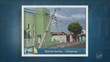 Poste inclinado preocupa moradores em bairro de Campinas - Telespectadores enviaram imagens para a EPTV.