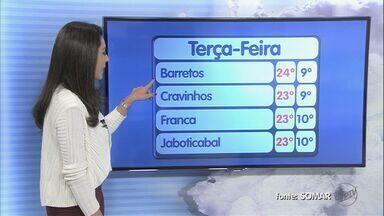 Confira a previsão do tempo para esta terça-feira (14) na região de Ribeirão - Sol aparece à tarde, temperatura sobe. Termômetros marcam máxima de 24 graus.