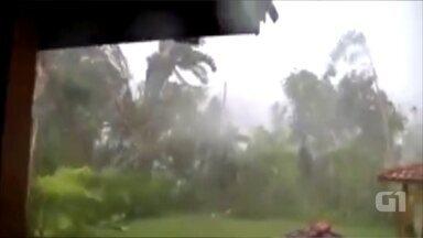 Vídeo mostra força do vento quebrando árvores de São Roque - Morador flagrou força do vendaval que atingiu a cidade de São Roque na segunda-feira (6).