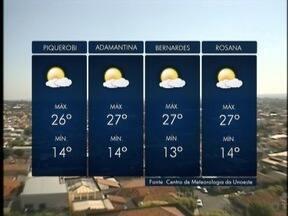 Temperaturas começam a subir no Oeste Paulista - Nesta quarta-feira (15) a máxima pode chegar aos 23º C.