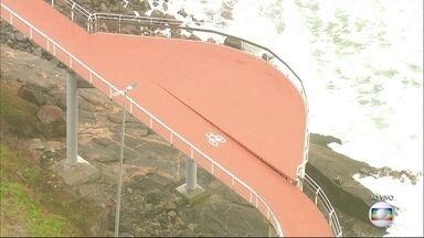 Trecho de nova ciclovia em São Conrado, no Rio, apresenta desnível - Segundo a GeoRio, o local, afastado da pista, será destinado a bicicletários e o desnível é previsto.