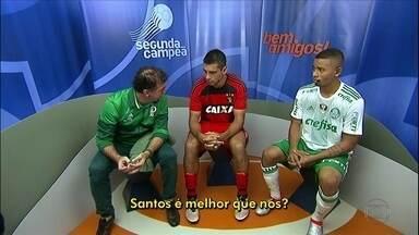 Bastidores: Cuca pergunta e Diego Souza responde que Palmeiras e mais forte que o Santos - Bastidores: Cuca pergunta e Diego Souza responde que Palmeiras e mais forte que o Santos