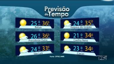 Veja a previsão do tempo para esta quarta-feira (6) no MA - Em São Luís a quarta-feira vai ficar parcialmente nublada, mas sem chuvas. A máxima será de 33 graus na capital. Em Itaipava do Grajaú, a temperatura será de 35 graus.