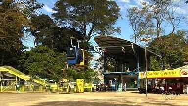 Veja o valor para passear no teleférico do Parque Mutirama, em Goiânia - Viagem de 1 km dura 12 minutos e cada cabine leva até 4 pessoas.