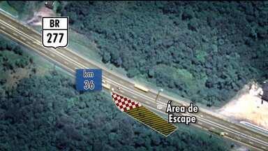 Concessionária estuda construção de área de escape na BR 277 - É uma forma de evitar acidentes envolvendo caminhões que ficam sem freios na descida da serra.