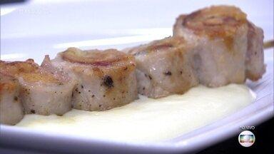Espetinho de Porco com Emulsão de Batata (ou Musseline de Batata) - Ana Maria faz a receita para os participantes do Super Chef Celebridades 2016