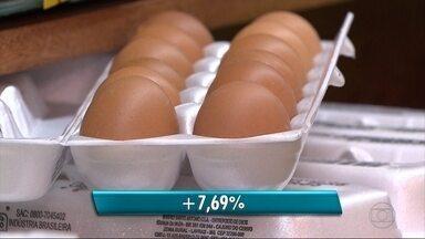 Alta dos preços dos produtos nos supermercados diminui poder de compra - Os ovos, por exemplo, aumentaram de valor em quase 8%.