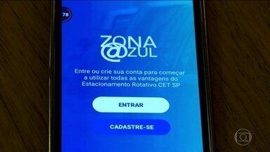 Aplicativos da Zona Azul Digital prometem simplificar a procura por vagas e evitar fraudes - A partir desta segunda-feira (11) é possível parar em uma vaga de Zona Azul em São Paulo e pagar usando aplicativos no celular. O SPTV mostra como a novidade chegou às ruas.