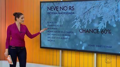 Tempo: RS tem chance de neve nos Campos de Cima da Serra neste domingo (17) - Sete municípios gaúchos podem ter neve durante a madrugada.
