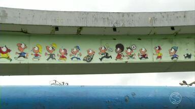 Volta Redonda, RJ, entra no clima da Olimpíada e prepara cidade para receber tocha - Município ganhou do artista visual Anderson de Souza, um painel pintado no Viaduto João Ravache, na Avenida dos Trabalhadores, no Centro com o tema.