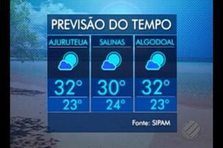 Veja o tempo e a temperatura nas principais praias do Pará neste fim de semana - Em Salinas, o sábado será de sol forte pela manhã. No domingo, a temperatura cai um pouco, com tempo um pouco mais nublado, com sol entre nuvens e chuva rápida.