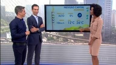 Previsão de tempo firme para passagem de Tocha Olímpica em São Paulo - O domingo (24) na capital paulista vai ser de tempo firme. A temperatura chega a 26ºC. O índice UV será alto.