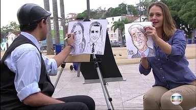 Flávio Fachel ganha caricatura de artista da Praça Mauá - O artista Cesar Guedes diz que se inspirou em cabeça quadrada e nariz achatado do apresentador para completar o desenho.