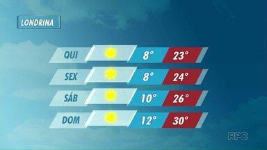 Temperaturas ficam mais amenas nos próximos dias em Londrina - Mínimas podem chegar a 8 graus.