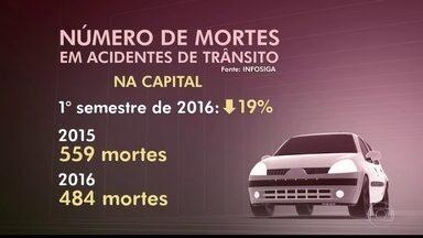 Número de acidentes de trânsito registra queda no primeiro semestre na capital - O número de mortes em acidentes de trânsito na capital, no primeiro semestre deste ano, caiu 19% em comparação com os primeiros seis meses do ano passado. Foram registradas 599 mortes em 2015 e 484 em 2016. Esse número inclui os acidentes em rodovias que passam pelo município de São Paulo.