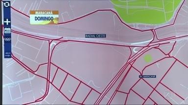 Confira as interdições no trânsito no último dia de Olimpíada no Rio - Veja o esquema para cerimônia de encerramento da Olimpíada. O Maracanã tem uma interdição maior e o bloqueio começa às 14h.