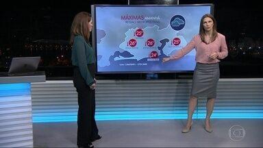 Temperatura no Rio deve cair nesta quinta-feira (1) - Com a chegada de uma frente fria que deixou o tempo mais úmido e fechado, a temperatura máxima não vai passar dos 26 graus em várias regiões do Rio. Pode cair mais chuva na cidade.
