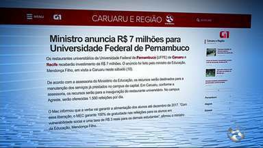 Ministro anuncia R$ 7 milhões para Universidade Federal de Pernambuco - Verba é para restaurantes universitários, segundo Ministério da Educação.