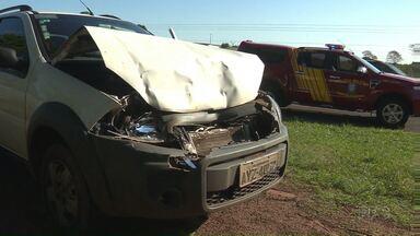 Quatro pessoas ficam feridas em engavetamento de veículos na BR 376 - Cinco veículos se envolveram no acidente