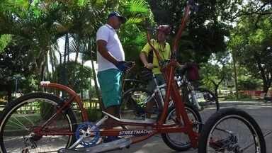 Pernambucano cria bike para facilitar vida de quem quer entrar em forma - Inventor criou a street machine, bicicleta que simula exercícios de academia