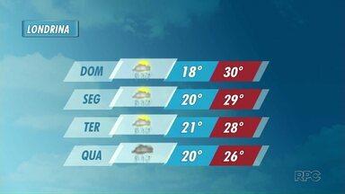 Pode chover neste domingo na região norte - A semana segue com tempo instável e temperaturas mais amenas.