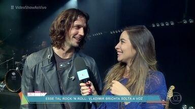 Vladimir Brichta mostra bastidores de show do personagem Gui Santiago - Marcela Monteiro acompanha gravação de show de Rock Story