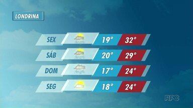 Pode chover no final de semana em Londrina, mas temperaturas seguem altas - Termômetros chegam perto dos 40 graus na região.