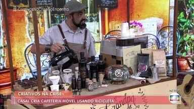 Casal cria cafeteria móvel usando bicicleta - As famílias de Pedro e Paula são produtoras de café e eles tiveram a ideia de montar o negócio para vender produtos com café