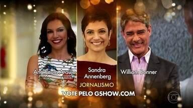 Confira os finalistas na categoria ´Jornalismo´ para o Melhores do Ano - Ana Paula Araújo, Sandra Annenberg e William Bonner são os finalistas