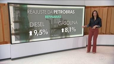 Gasolina e diesel ficam mais caros nas refinarias - A Petrobras anunciou um novo reajuste no preço do diesel e da gasolina. A empresa também divulgou uma estimativa de preço para o valor final ao consumidor.