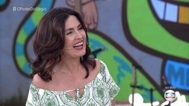 Fátima e Maria Flor confessam timidez ao serem elogiadas - Fernando Caruso enche as duas de elogios e conta que sua esposa também costuma ter problemas para aceitar os elogios
