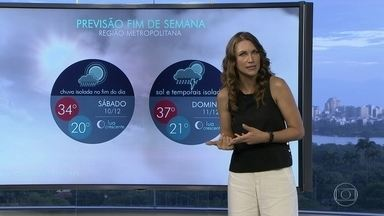 Rio deve ter Sol e chuva neste fim de semana - No sábado (10) vai dar praia. Mas o calorão, a umidade, o tempo abafado e a instabilidade trazem chuva isolada no fim do dia. No domingo, a máxima será de 37 graus.
