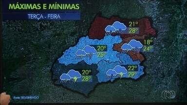 Chuva deve atingir nesta terça-feira (13) todas as regiões de Goiás - Em Goiânia, a temperatura deve ficar entre 22ºC e 28ºC.
