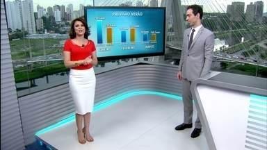 São Paulo pode ter calor e muita chuva durante o verão - O verão começa nesta quarta-feira (21). Em janeiro, pode ter chuva acima da média com muitos temporais. As temperaturas serão quentes, mas dentro do normal.
