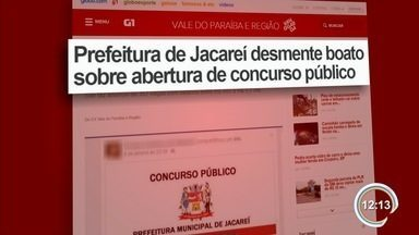 Prefeitura de Jacareí desmente boato sobre abertura de concurso público - Administração informou que notícia compartilhada nas redes sociais é falsa.