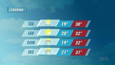 Instabilidade deve diminuir na região de Londrina nos próximos dias - No sábado é esperado tempo firme e com poucas nuvens.