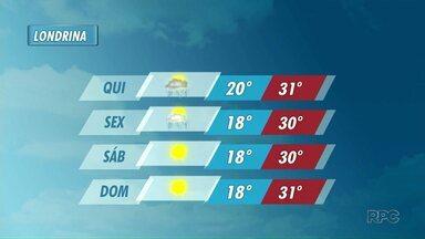 Tempo fica firme no final de semana em Londrina - Instabilidade tende a diminuir na sexta-feira. No sábado e no domingo são esperados dias de muito sol.