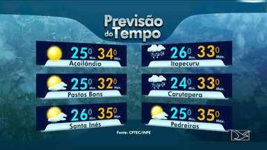 Veja a previsão do tempo nesta quarta-feira (8) no MA - Tempo instável e chuva em quase todas as regiões do Maranhão. Apenas no leste maranhense predomínio de sol.