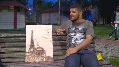 Artista do AM cria obras com café - Confira o trabalho do artista.
