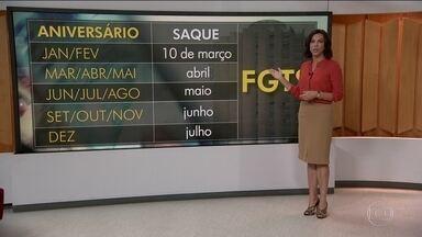 Governo vai divulgar calendário para saque de contas inativas do FGTS - Nesta terça-feira (14) sai o calendário para o saque das contas inativas do FGTS. A expectativa é injetar R$ 40 bilhões na economia.