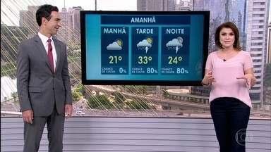 Previsão é de chuva durante a tarde e à noite em SP nesta sexta-feira (24) - Pode chover na hora dos desfiles das escolas de samba. No Litoral Norte de São Paulo, a previsão é de calor com chance de chuva também.