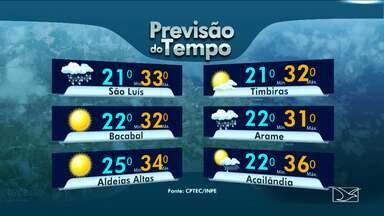 Veja a variação das temperaturas no Maranhão - Previsão de chuva nesta quarta-feira (1º) de cinzas em São Luis com temperatura mínima de 21 e máxima de 33 graus.