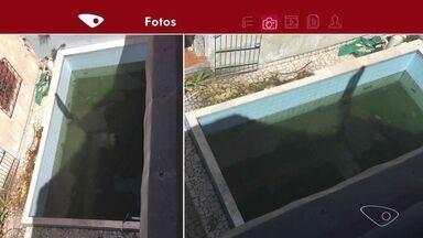 VC no ESTV: morador da Serra reclama de água parada em piscina - Ele teme a proliferação do mosquito Aedes aegypti.