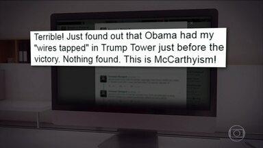 O presidente dos EUA, Donald Trump, ataca mais uma vez no Twitter - Pela rede social, ele acusa o ex-presidente Obama de grampear suas ligações durante a campanha do ano passado.