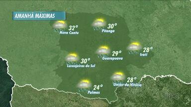 O tempo ainda deve ficar instável amanhã na nossa região - A previsão é de um dia parcialmente nublado, com condição de chuva no período da tarde.